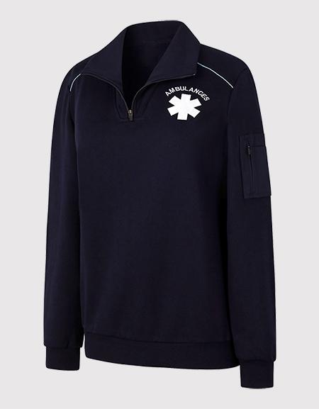 Sweat-shirt féminin col montant passepoil AMBULANCIER