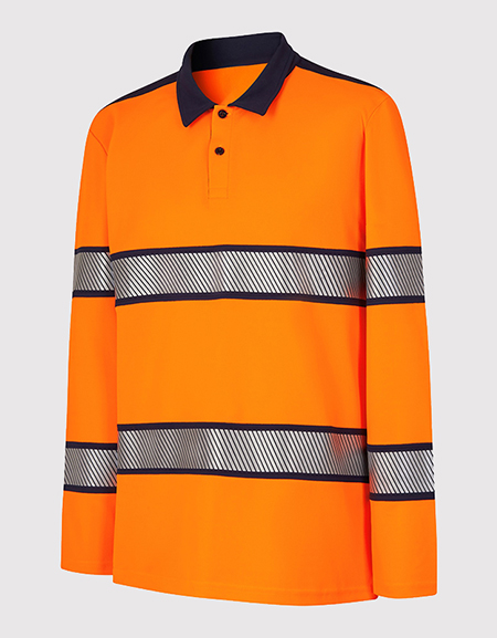 Polo manches longues col chemise HV